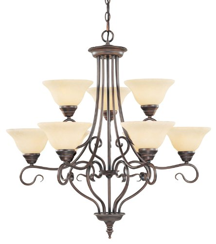 New Imperial Bronze Finish - Livex Lighting 6119-58 Coronado 9 Light Two Tier (6+3) Imperial Bronze Chandelier with Vintage Scavo Glass