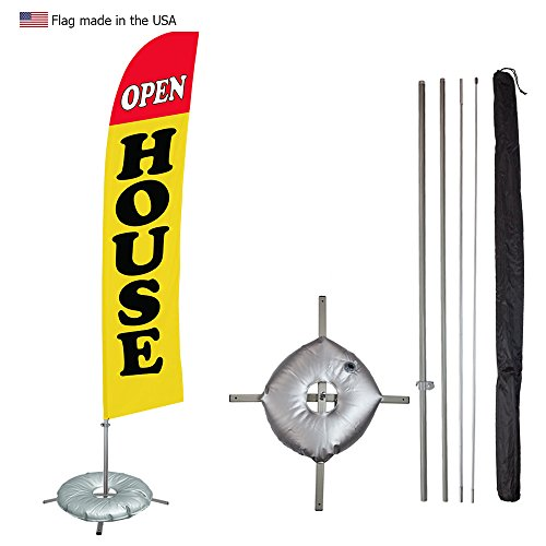 Vispronet - Open House Feather Flag Kit - 13.5ft Swooper Flag with Pole Set, Cross Flag Base and Weight Bag - Open House, Realtors, Rentals - Printed in the USA Cross Pole Kit