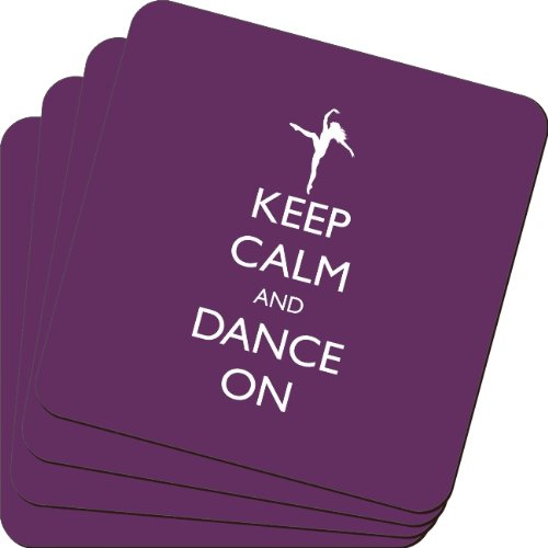 Rikki Knight Keep Calm and Dance on Purple Color Design Soft Square Beer Coasters (Set of 2), Multicolor
