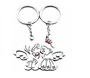 SODIAL(TM) Angel Kiss Couple Metal Magnetic Keychain & Keyring
