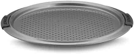 Anolon Advanced Nonstick Bakeware 13-Inch Pizza Crisper, Gray with Silicone Grips