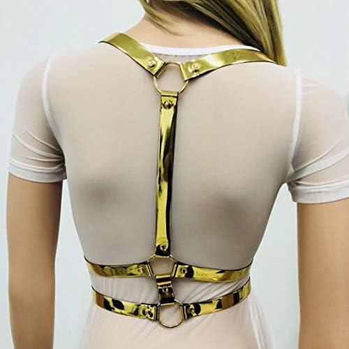 iiniim Arn/és Cl/ásico de Cuero Pecho Brillante Mujer Punk Cintur/ón Ajustable en Y Belt Metal O-ring PU Leather Roleplay Costume Clubwear