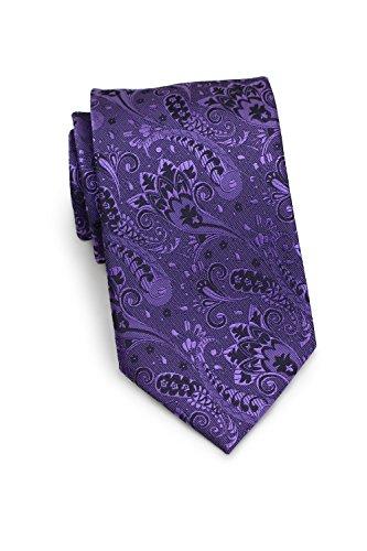(Bows-N-Ties Men's Necktie Luxe Paisley Silk Satin Tie 3.25 Inches (Royal Purple))