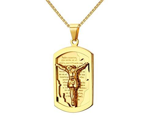 Crucifijo Cadena de Titanio Chapada En Oro con Oracion Padre Nuestro Unisex Necklace Jesus Inri Piece Cross Pendant CA0024