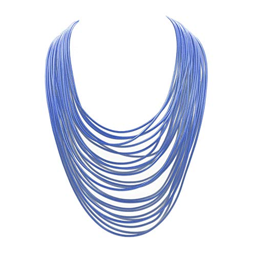 Women Multi Layer Chunky Bib Necklace Magnetic Clasp Wax Line Choker Statement Jewelry (Navy Blue)