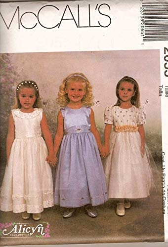 Childrens Girls Dresses Sewing Pattern Fancy Formal Wedding Church Special Occasion Flower Girl Size 6, 7, 8 McCalls 2055 Alicyn Exclusives