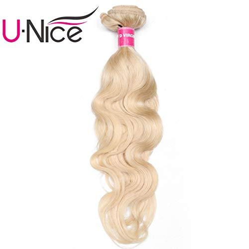 UNice 10A Grade Brazilian Blonde Body Wave Remy Hair 1 Bundles 613 Color Human Hair Extensions Weave (16inch, 613Color)