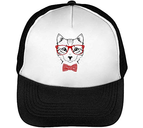 Vintage Wearing Blanco Gorras Glasses Cat Snapback Hombre Negro Beisbol Tie Hipster A gYPZgrOW