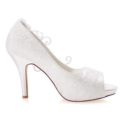 Beige Talons Hauts Mariage Ivoire Dentelle Toe Chaussures Bridal Peep De Emily À Mariée gTA7vaxn