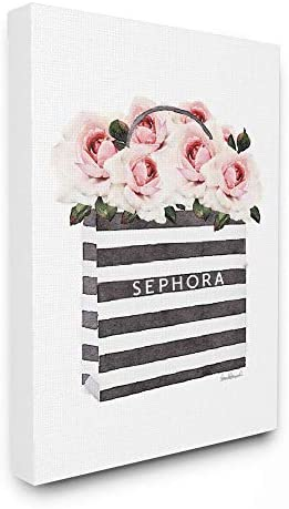 The Stupell Home D cor Collection Striped Makeup Shopping Bag Filled with Pink Roses Stretched Canvas Wall Art, Multi-Color, 24×30, Gallery Wrapped Canvas