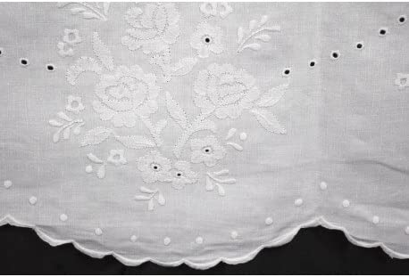 Mantel redondo bordado a Mano Lino Puro-lunares y flores 16-260 ...