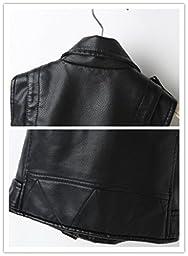 Faux leather Motorcycle Dress Casual Girls Joker Vest (Black)