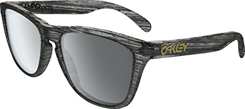 Oakley Men's Frogskins Non-Polarized Iridium Square Sunglasses, Matte Clear Woodgrain, 55 - Frogskins Oakley Wayfarer