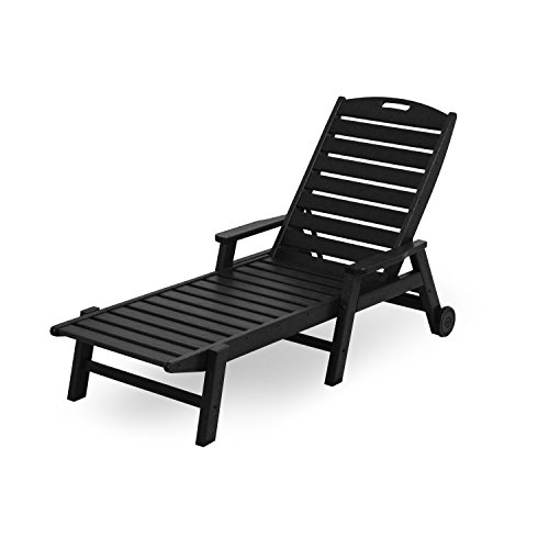 Chaise Nautical Lounge Wheel (Nautical Wheel Chaise Lounge with Arms Finish: Black)