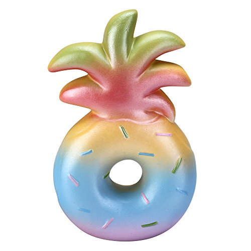 AGfun Squishy Pineapple Donuts ,Rainbow Squishies Slow Rising Fruit Collection Gift Stress Reliever Toys by AGfun