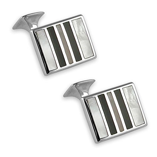 amp; of striped onyx silver pearl Clip Sterling Bond Money James Box Set cufflinks mother qw6FAnI