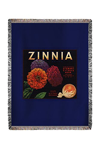 (Lantern Press Zinnia Brand - Upland, California - Citrus Crate Label 57834 (60x80 Woven Chenille Yarn Blanket))