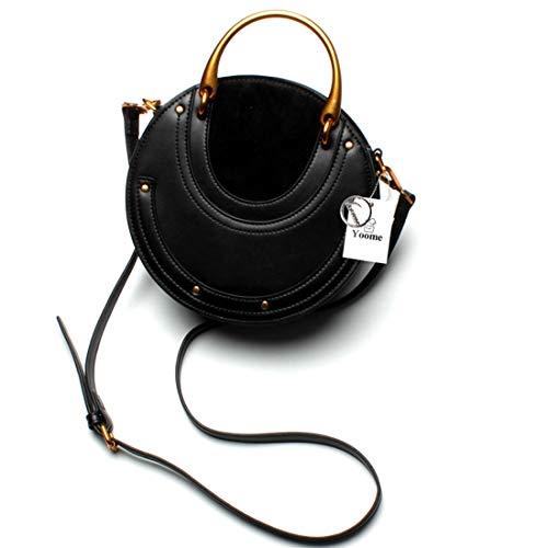 Yoome Elegant Rivet Bag Punk Purse Circular Ring Handle Handbags Cowhide Crossbody Bags For Women - Black