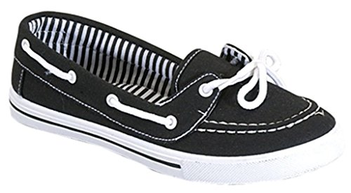 Boat Sneaker (Delight 82 Canvas Lace Up Flat Slip On Boat Comfy Round Toe Sneaker Tennis Shoe, Black/White, 8.5)
