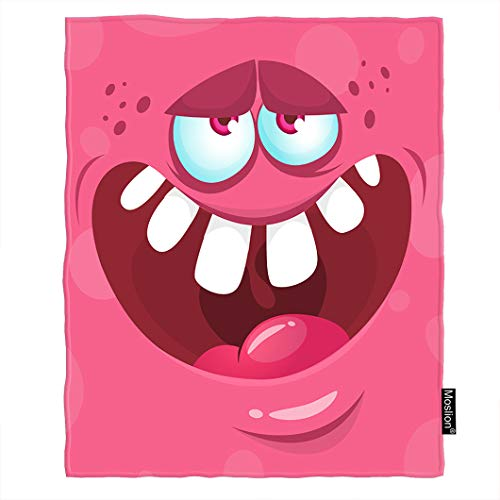 Moslion Monster Blanket Cartoon Halloween Monster Smile Face with Big Teeth Mouth Throw Blanket Flannel Home Decorative Soft Cozy Blankets 6080 Inch for Adults Kids Sofa -