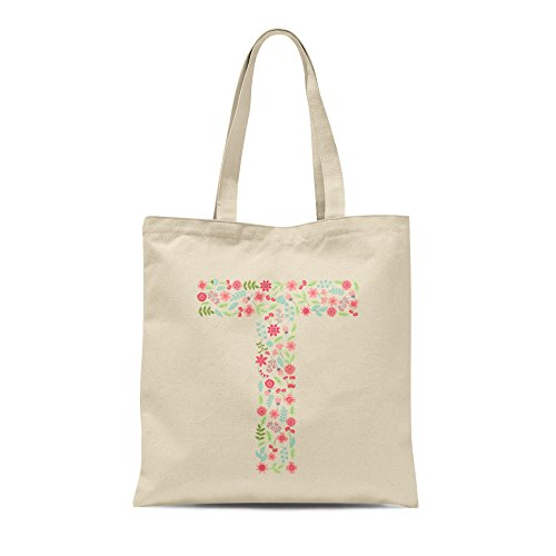 Letter Letter Tote T Gift Floral Personalised Birthday Present Any Shopper Alphabet Bag Fn4FgavW