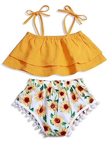 Baby Girl Clothes Sling Off Shoulder Top and Sunflower Tassel Short Summer Outfits Set 6-12Months -
