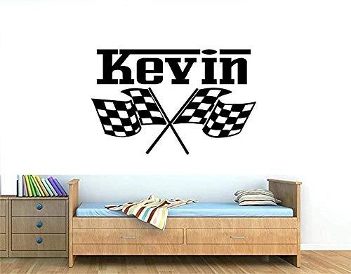 Wall Decal Custom Name Checkered Flags,FIA Formula 1 Flag Decal,Custom Name Racing Car Flag Sticker Vinyl Art Mural,Boy Room Play Room
