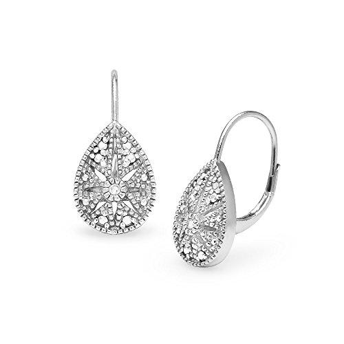 Sterling Silver Teardrop Starburst Diamond Accent Leverback Drop Earrings, IJ-I3