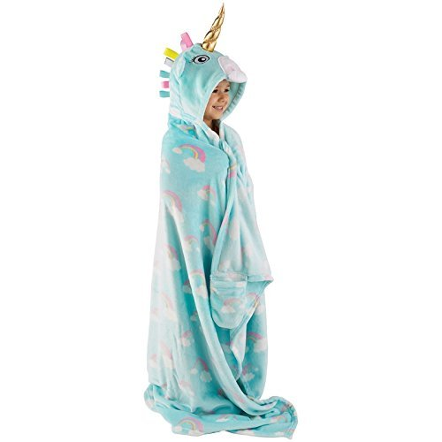 A2Z Home Solutions Snuggle Up Girls Hooded Supersoft Fleece Blanket - Unicorn Throws Blanket Bedding 76348
