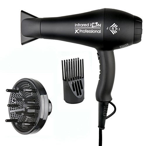 1875w Professional Salon Hair Dryer,Negative Ionic Hair Blow Dryer,AC Motor Infrared Heat Low Noise Hair Dryer,with Concentrator & Diffuser,ETL Certified, Black