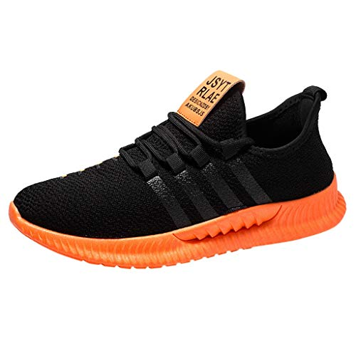 JUSTWIN Men Casual Sneakers Shoes Breathable Lace Up Mesh Lightweight Men's Sports Student Leisure Running Sneaker Orange