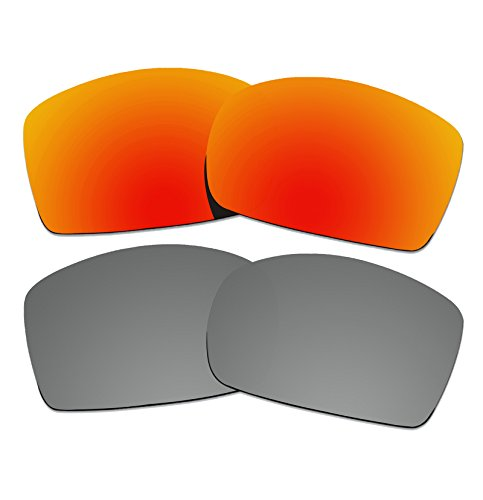 2 Pairs COLOR STAY LENSES 2.0mm Thickness Polarized Replacement Lenses for Oakley Square Wire II New (OO4075) Sunglasses Fire Red Mirror & Titanium Mirror by COLOR STAY LENSES