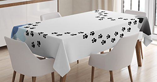 - Dog Lover Decor Tablecloth by Ambesonne, Puppy Love Heart Shaped Trail of Paw Prints Dog House Kennel Bone Water Drops, Dining Room Kitchen Rectangular Table Cover, 60 X 84 Inches