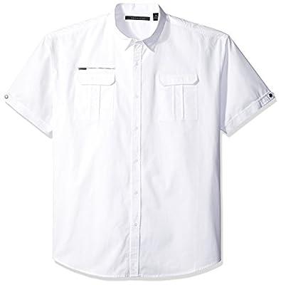 Sean John Men's Big and Tall Short Sleeve Texture Block Flight Shirt