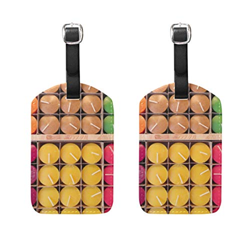 Personalized PU Leather Luggage Tags Suitcase Labels Travel ID Bag Set of 2 Colourful Candles ()