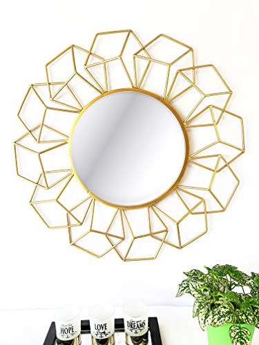 Your Home and Beyond Modern Contemporary 24x2x24 3D Geometrical Shaped Gold Metal Wall Hanging Decorative Mirror Addison Collection