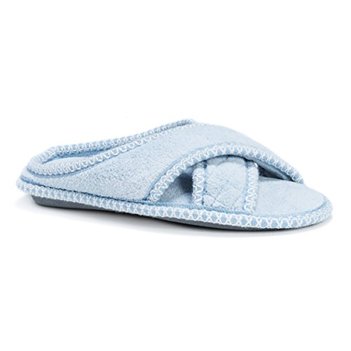 Chenille Light Blue Cross Micro Women's Slippers Ada MUK LUKS wq0gAAI