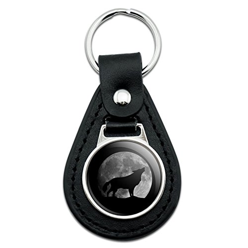 Wolf Howling Moon Silhouette Black Leather Keychain