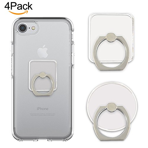 Cell Phone Ring Holder Stand Transparent 4 Pack Finger Grip Loop Mount 360 Degree Rotation Universal Smartphone Kickstand Compatible with iPhone X 8 7 7Plus Samsung Galaxy S7 S8 LG Google