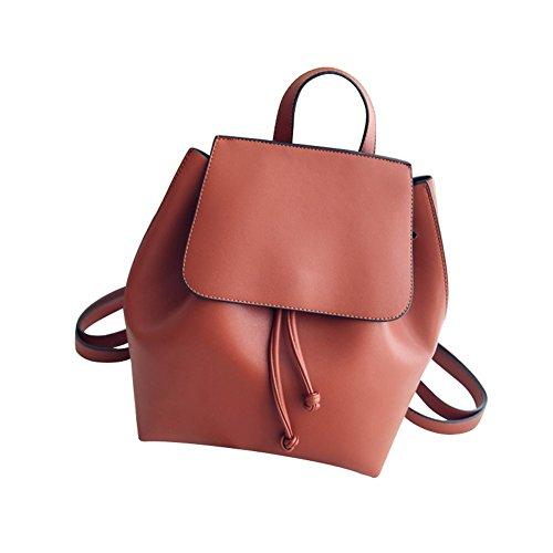 Skyflying Women Girls Ladies Faux PU Leather Shoulder Bag Casual Travel Bag Schoolbags Handbag (brown)