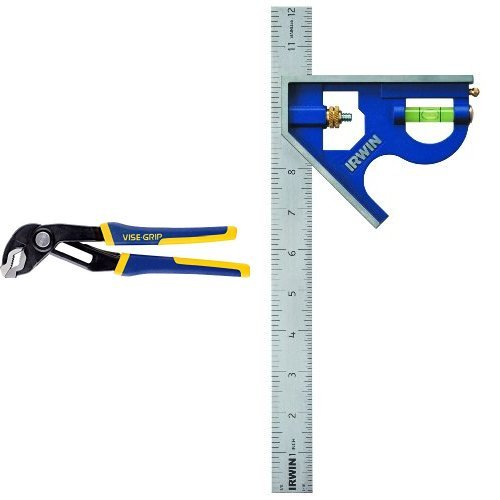 IRWIN Tools VISE-GRIP Tools GrooveLock Pliers and Combination Square, Metal-Body - Grip Combination Pliers