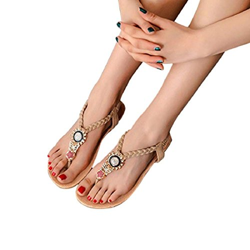 Tongshi Zapatos de las mujeres del Rhinestone Owl dulces sandalias del dedo del pie del clip playa de las sandalias Beige