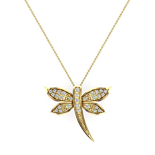 Dragon fly 18K Yellow Gold Necklace Pavé set Diamond Charm 0.36 Carat Total Weight