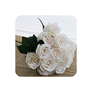 Rose Artificial Roses Wedding Flower Decoration Mariage Fake Silk Rose Real Touch Flower Bridal Bouquet Home Party Decor 12 Head,13 9