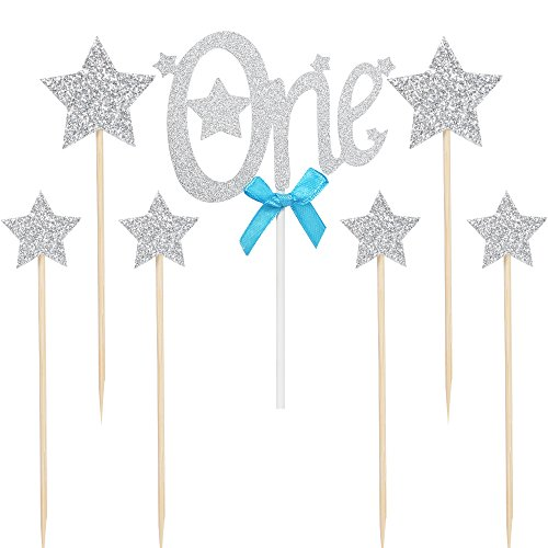 "PALASASA happy birthday Cake Toppers Silver Gliter letters""one""and Pentacle star,1st Party decor Decorations,Set of 7"