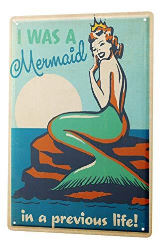 (Retro Tin Sign Wall Decor Plate Mermaid Rock Metal Wall Plate 8X12