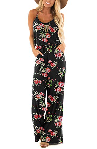 Womens Summer Floral Sleeveless Spaghetti Strap Sexy Jumpsuit Rompers Wide Leg Pants Floral Black Medium