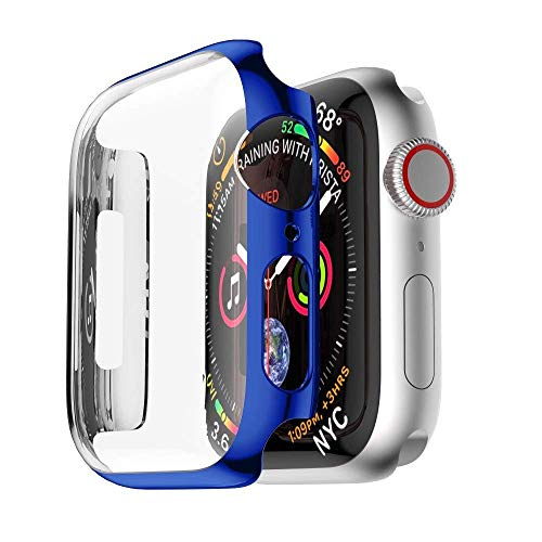 - Tech Express Chrome Screen Protector Case for Apple Watch Series 4 [iWatch Cover] Easy Snap On Metallic Rugged Bumper for 40mm & 44mm Shockproof Full Body Hard PC (Electric Blue, 40mm)