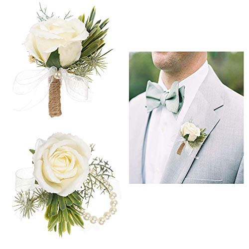 2Pcs Calla Lily Corsage and Boutonniere Set Boutonniere Buttonholes Groom Groomsman Best Man Calla Lily Wedding Flowers Accessories Prom Suit Decoration for Men and Women