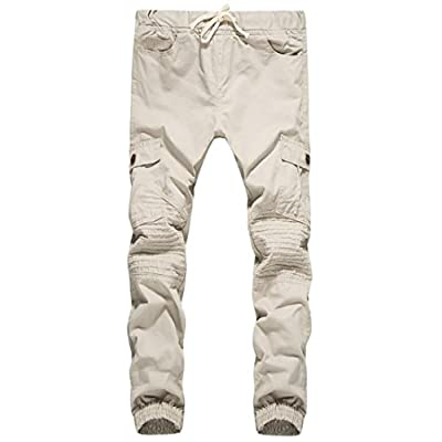 Cheap Oberora-Men Pleated Straight Leg Drawstring Cotton Long Pants With Pockets